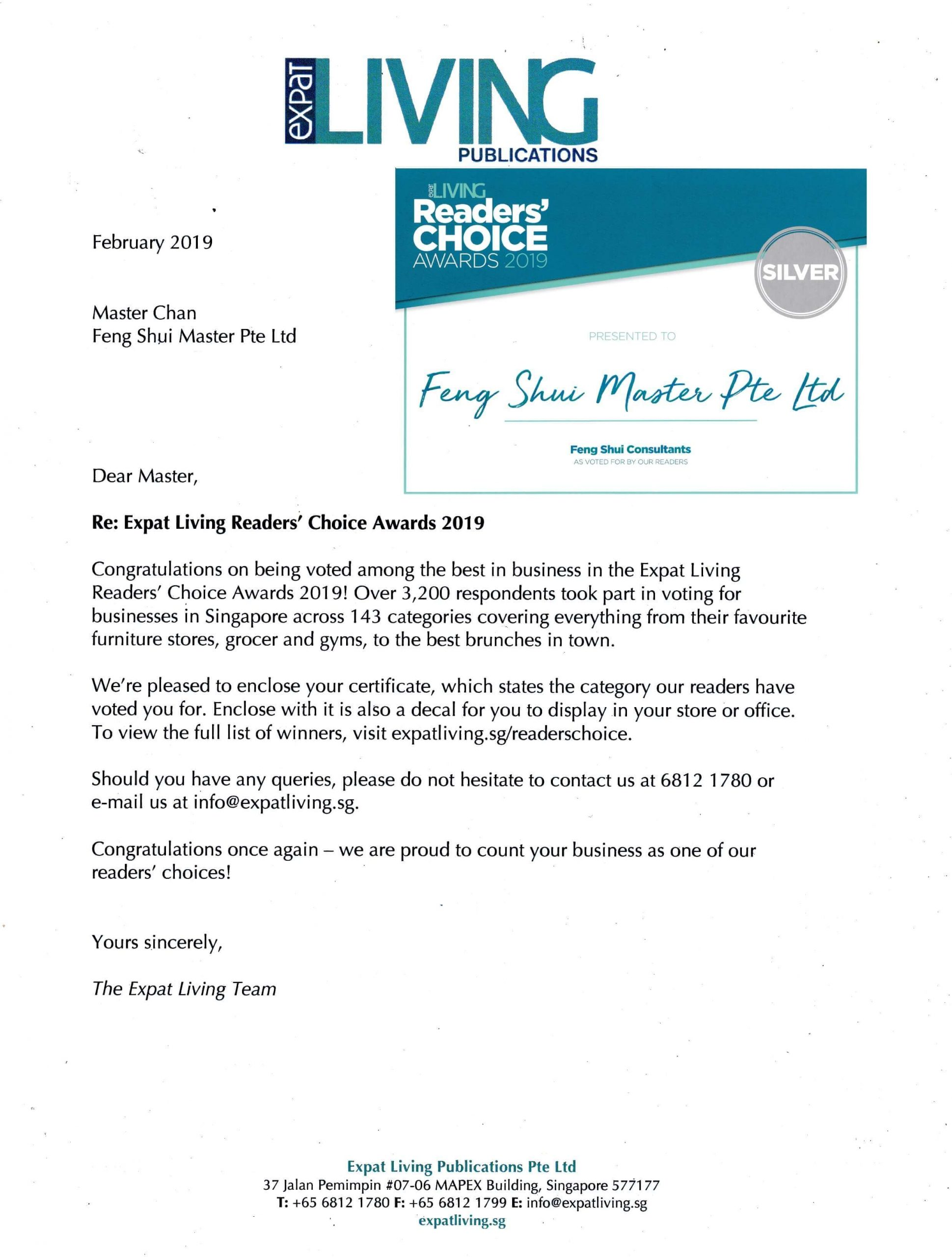 feng shui master expat living award